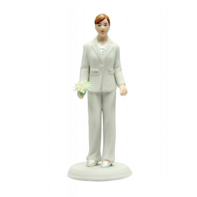 Female Porcelain Suit Cake Topper
