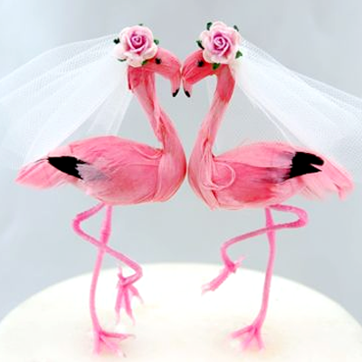 Female Flamingos Cake Topper
