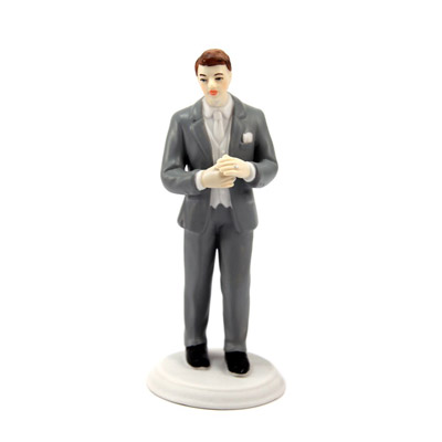 Male Porcelain Grey Suit Cake Topper
